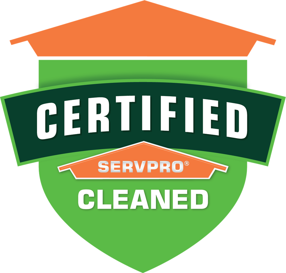 STICK! with us!! Image of Certified: SERVPRO Cleaned shield.